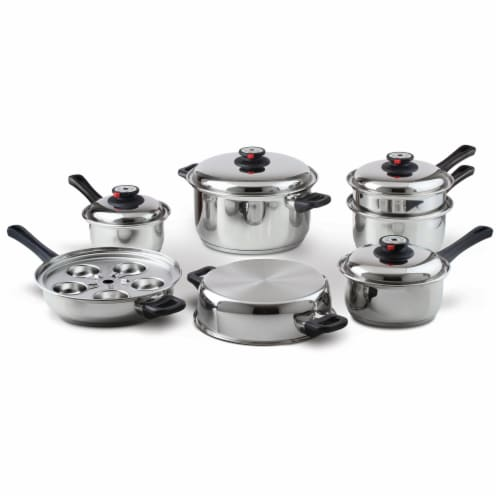 Maxam 9-Element Waterless Cookware Set Durable Stainless Steel Construction, 17 Pieces Perspective: front