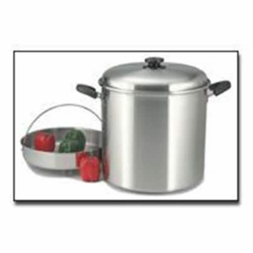 """Precise Heat 30qt 12-Element """"Waterless"""" Stockpot with Steamer Basket Perspective: front"""