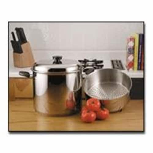 Precise Heat 24qt 9Element Waterless Stock Pot with Deep Steamer Basket Perspective: front