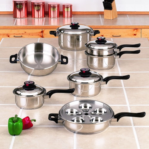 World's Finest 7-Ply Waterless Cookware Set Durable Stainless Steel Construction, 17 Pieces Perspective: front