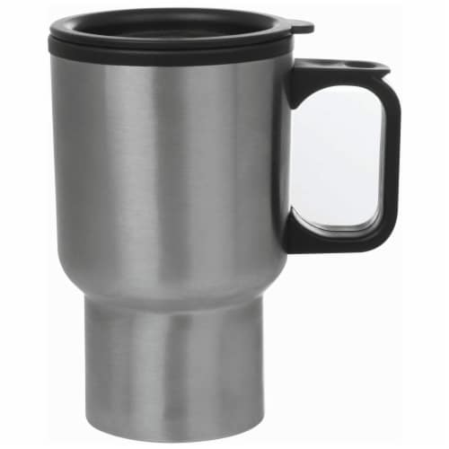 Maxam Stainless Steel Travel Mug with Tapered Bottom to Fit Most Cup Holders 14-Ounce Perspective: front