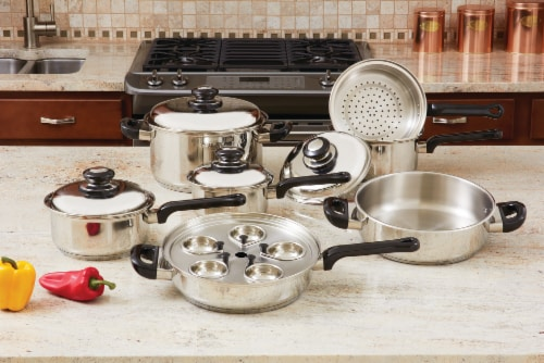 Stainless Steel Cookware Set, 17 Pieces Perspective: front