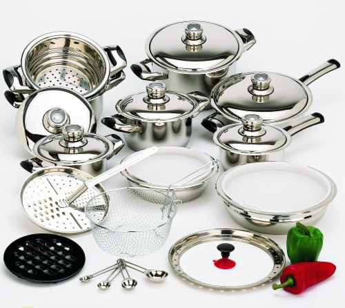 28 Piece 12-Element High-Quality Heavy-Gauge Stainless Steel Cookware Set Perspective: front