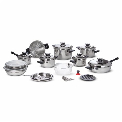 Chef's Secret 28 Piece 12-Element T304 Stainless Steel Waterless Cookware Perspective: front