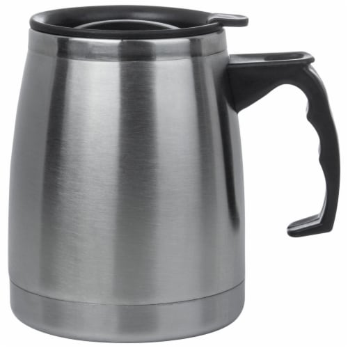 Maxam Double Wall Stainless Steel Boat Mug 16 Ounce Wide Non-Slip Base Perspective: front