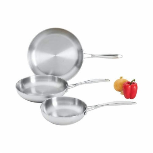 Stainless Steel Frypan Set With Long Riveted Handles Perspective: front