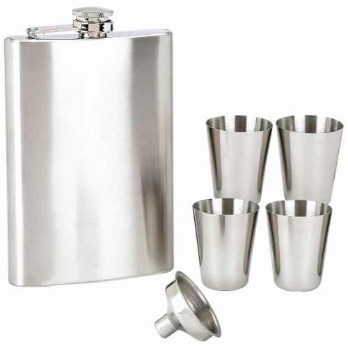 Maxam 6-piece Stainless Steel Flask Set Low-Cost High-Quality Addition to any Home Bar Perspective: front