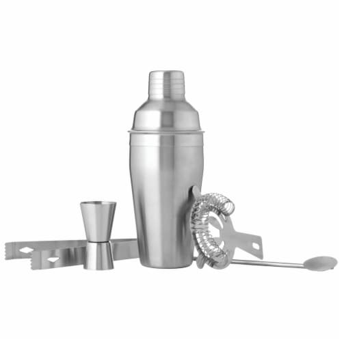 Wyndham House Cocktail Shaker Set for the Home Bar Stainless Steel 5-Piece Perspective: front