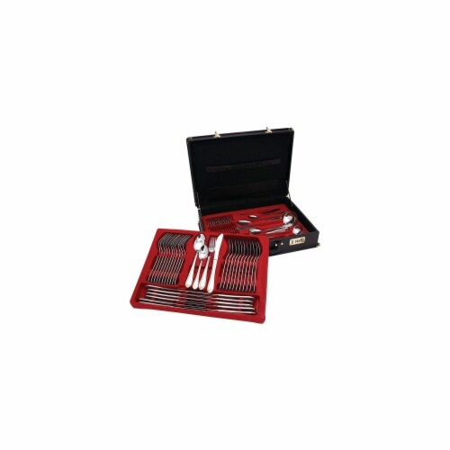 Sterlingcraft 72 Pc Gold Trim Flatware Set Perspective: front