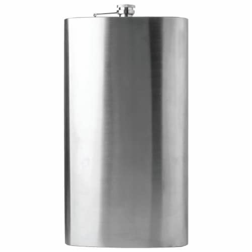 Maxam  Stainless Steel Flask Extra Large Drinking Flask Polished Silver 1 Gallon Capacity Perspective: front
