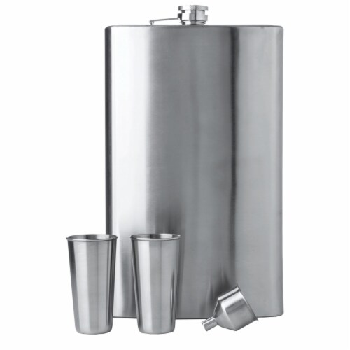 "Maxam 4 Piece ""Giant Shot"" Stainless Steel Flask Set 64 Ounces with Shot Glasses Perspective: front"