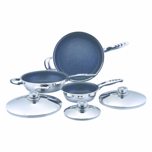 Precise Heat 6pc High-Quality Heavy-Gauge Stainless Steel Non-Stick Skillet Set Perspective: front