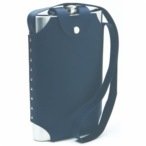 Maxam Jumbo Stainless Steel Flask with Sheath and Shoulder Harness 64-ounce Perspective: front