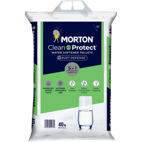 Morton Clean & Protect + Rust Defense Water Softener Pellets Perspective: front