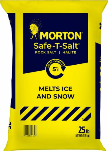 Morton Safe-T-Salt Halite Rock Salt Perspective: front