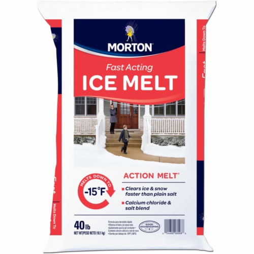 Morton Action-Melt Calcium Chloride Granule and Flake Ice Melt 40 lb. - Case Of: 1; Perspective: front