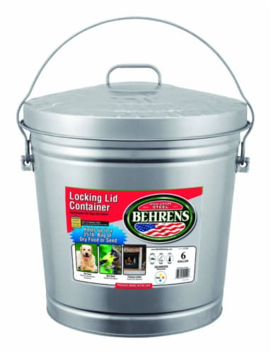 Behrens 6 gal. Galvanized Steel Garbage Can Lid Included Animal Proof/Animal Resistant - Case Perspective: front