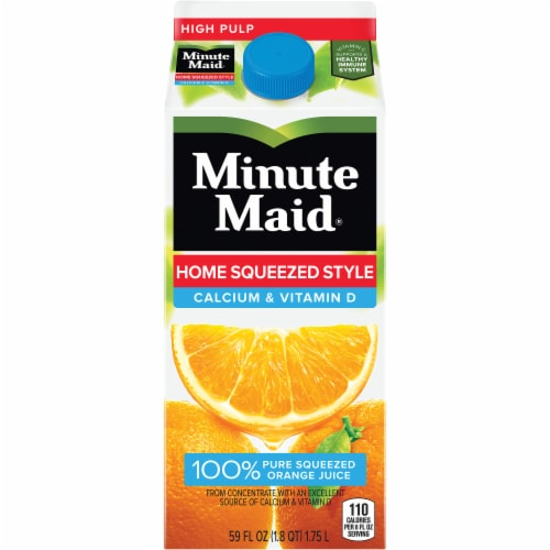 Minute Maid Home Squeezed Style Calcium and Vitamin D 100% Orange Juice Drink Perspective: front