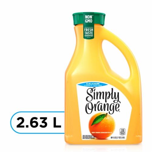 Simply Orange Calcium and Vtiamin D Pulp Free Orange Juice Perspective: front