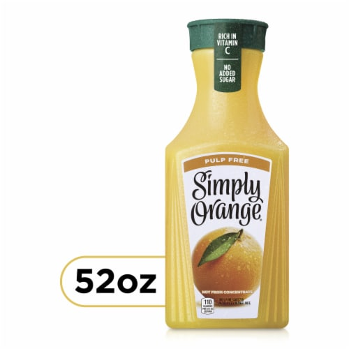 Simply Orange Pulp Free Orange Juice Perspective: front