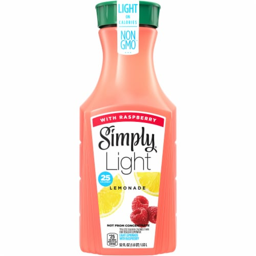 Simply Light Lemonade with Raspberry Juice Drink Perspective: front