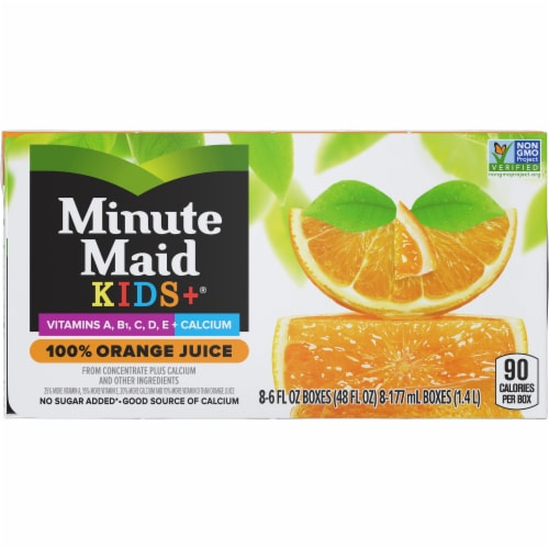 Minute Maid Kids + 100% Orange Juice Boxes Perspective: front
