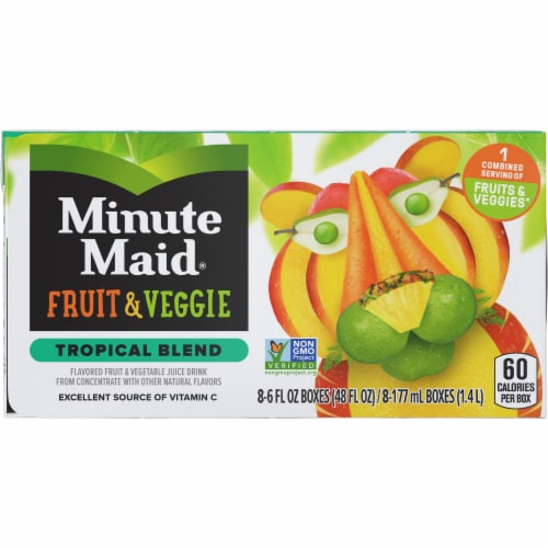 Minute Maid Fruit & Veggie Tropical Blend Juice Boxes Perspective: front