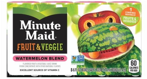 Minute Maid Fruit & Veggie Watermelon Blend Juice Boxes Perspective: front