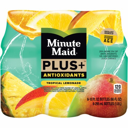 Minute Maid Plus Antioxidants Tropical Lemonade Fruit Juice Drink Perspective: front