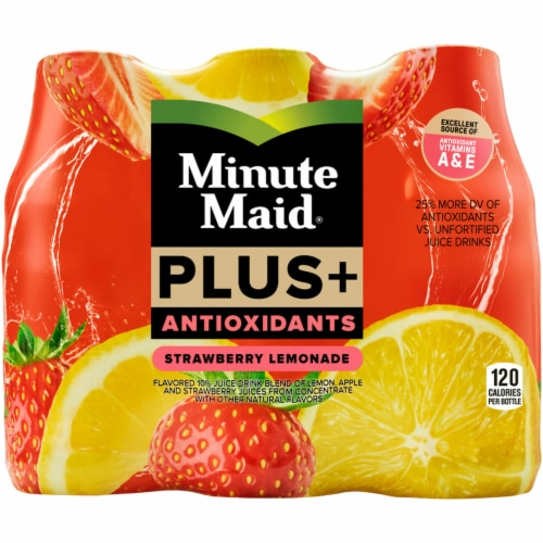 Minute Maid Plus+ Antioxidants Strawberry Lemonade Fruit Juice Drink Perspective: front