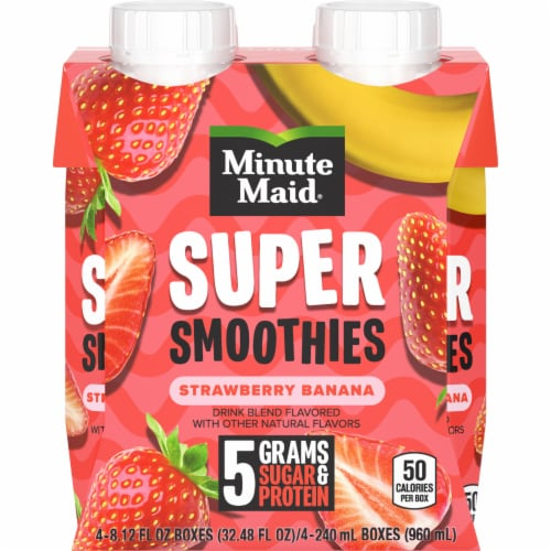Minute Maid Super Smoothies Strawberry Banana Smoothies Perspective: front