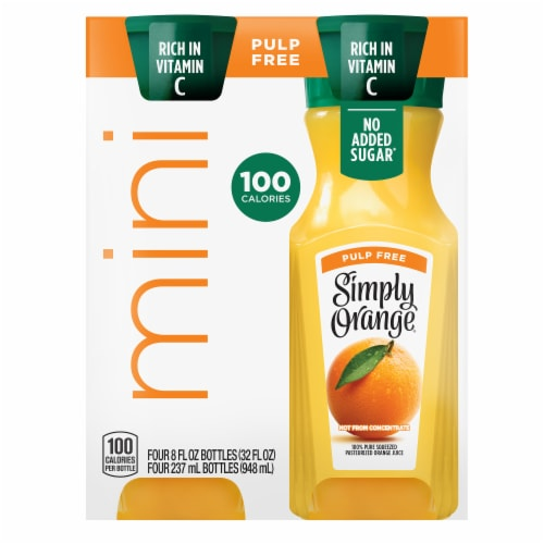 Simply Orange Mini Pulp Free Juice Drink Perspective: front