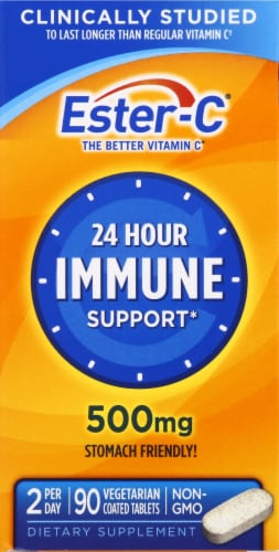 Ester-C Immune Support Tablets 500mg 90 Count Perspective: front
