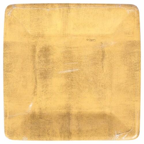 Caspari Paper Salad & Dessert Plate - Gold Leaf Perspective: front