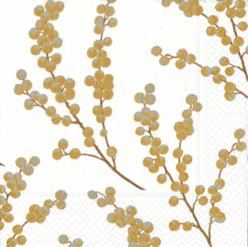 Caspari Berry Branches Paper Cocktail Napkins - White/Gold Perspective: front