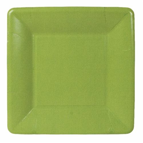 Caspari  Paper Grosgrain Border Salad - Dessert Plate Moss Green Perspective: front