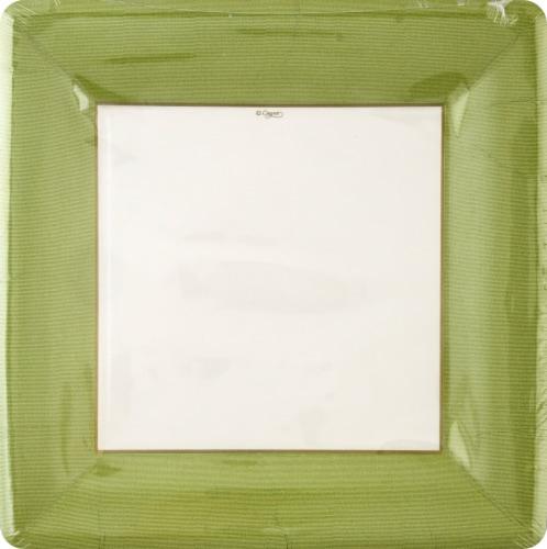 Caspari Paper Grosgrain Border Dinner Plate - Moss Green/White Perspective: front