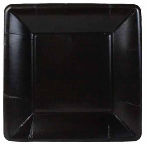 Caspari Paper Grosgrain Border Salad and Dessert Plate - Black Perspective: front