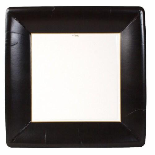 Caspari Paper Grosgrain Border Dinner Plate - Black Perspective: front