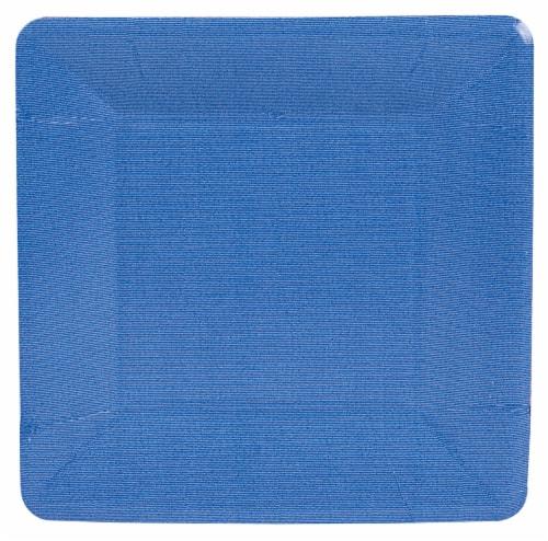 Caspari Paper Grosgrain Border Salad and Dessert Plates - Marine Blue Perspective: front