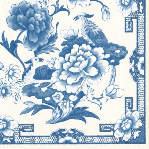 Caspari Paper Cocktail Napkin - Blue/White Perspective: front