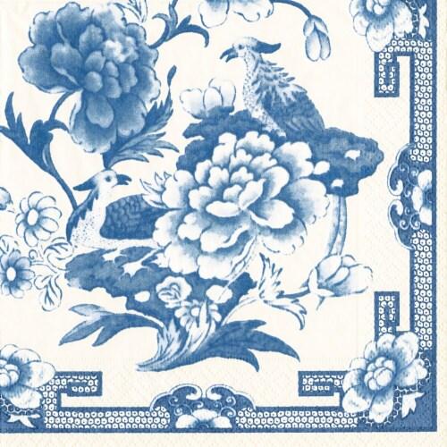 Caspari Paper Luncheon Napkins - Blue / White Perspective: front