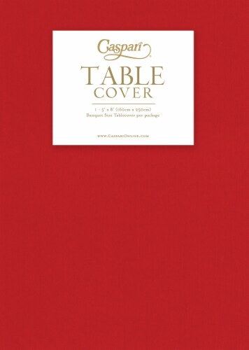 Caspari Banquet Size Paper Linen Table Cover - Red Perspective: front