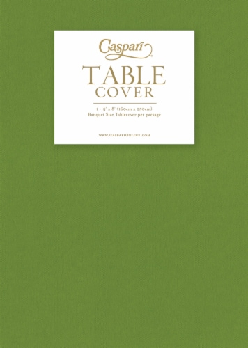 Caspari Banquet Size Paper Linen Table Cover - Moss Green Perspective: front