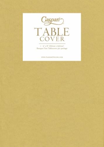 Caspari Banquet Size Paper Linen Table Cover - Gold Perspective: front