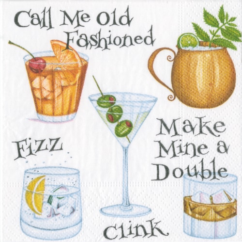 Caspari Cocktail Hour Napkin Perspective: front