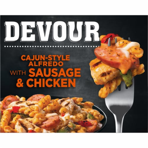 Devour Cajun-Style Alfredo with Sausage & Chicken Frozen Entree Perspective: front