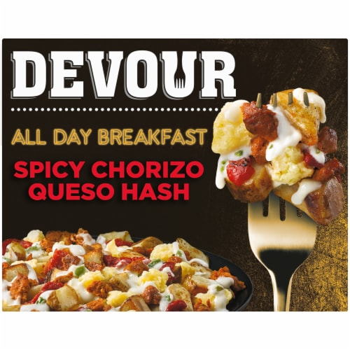 Devour All Day Breakfast Spicy Chorizo Queso Hash Frozen Meal Perspective: front