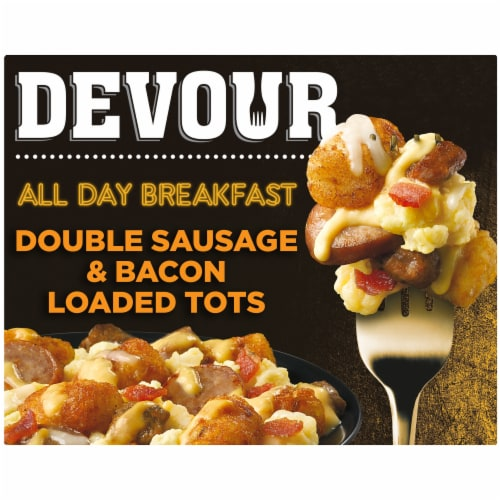 Devour All Day Breakfast Double Sausage & Smoked Bacon Loaded Tater Tots Frozen Meal Perspective: front