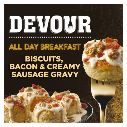 Devour All Day Breakfast Biscuits Bacon & Creamy Sausage Gravy Frozen Meal Perspective: front